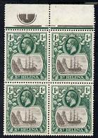 St Helena 1922-37 KG5 Badge Script 1d Top Marginal Block Of 4 With Plate No.1, Includes Variety 'Bottom Vignet... - Saint Helena Island
