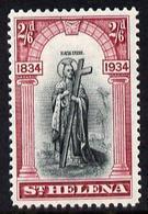 St Helena 1934 KG5 Centenary 2s6d Mounted Mint SG 121 - Sainte-Hélène