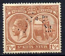St Kitts-Nevis 1921-29 KG5 Script CA Columbus 1.5d Red-brown  With SPECIMEN Perfin Fine With Gum Only About 40... - St.Kitts-et-Nevis ( 1983-...)