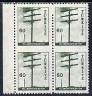 Turkey 19559 Telegraph Pole 60k Mounted Mint Block Of 4 Imperf Between Horizontally - Turquie