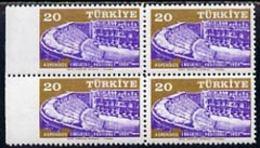 Turkey 1959 Aspendos Festival 20k Unmounted Mint Marginal Block Of 4 Imperf Between Stamps And Margin - Unclassified