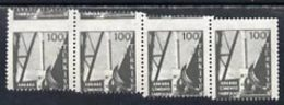 Turkey 1959 Cement Factory 100k Mounted Mint Strip Of 4 With 'stepped' Perfs Error - Non Classés