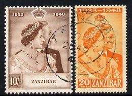 Zanzibar 1949 KG6 Royal Silver Wedding Perf Set Of 2 Cds Used SG 333-34 - Zanzibar (1963-1968)