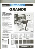 LEUCHTTURM - Feuilles GRANDE 3 VC - 3 BANDES VERTICALES Fond Transparent - Albums & Reliures