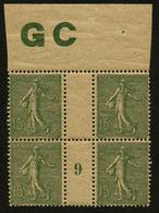 FRANCE - YT 130j ** - SEMEUSE LIGNEE 15c Type IV - BLOC DE 4 TIMBRES NEUFS ** AVEC MILLESIME 9 (1919) MANCHETTE GC - Millésimes