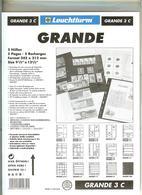 LEUCHTTURM - Feuilles GRANDE 3 C - 3 BANDES Fond Transparent - Albums & Reliures