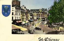 Cpsm Petit Format St ETIENNE  Place Du Peuple Commerces Voitures Colorisée    RV - Saint Etienne