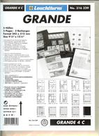 LEUCHTTURM - Feuilles GRANDE 4 C - 4 BANDES Fond Transparent - Albums & Reliures