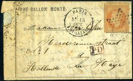 Lettre Jules Favre N°1, Obl  Paris St Lazare Du 14/10/70 Pour La Haye Pays-Bas, Au Verso Arrivée Le 18 Oct 70 + Cachet D - Francobolli