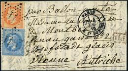Lettre Le Franklin Affranchi à 60c (40+20), Oblitéré Etoile 11 - Rue St Honoré Pour Vienne (Autriche), Arrivée Au Verso  - Francobolli