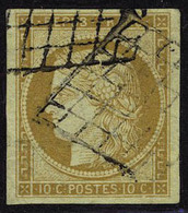Oblitéré N° 1, 10c Bistre Jaune, T.B. Signé A Brun - Briefmarken
