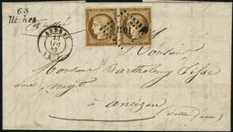 Lettre N° 1. 10c, Bistre, Paire Horizontale S/L Oblitérée Grille + CàD Arbeau 13 Nov 52 + Cursive 63 Heches. Superbe. - Briefmarken