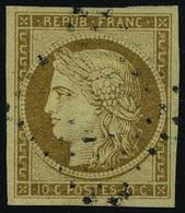 Oblitéré N° 1a, 10c Bistre, Cérès Obl Los PC Signé Roumet - Briefmarken