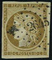 Oblitéré N° 1a, 10c Cérès Bistre-brun, Obl. PC2645, Infime Faiblesse Dans Le Papier, Aspect T.B. - Francobolli