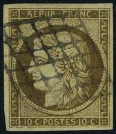 Oblitéré N° 1c, 10c Bistre Verdâtre Foncé, Très Jolie Nuance, T.B., Signé Brun - Francobolli