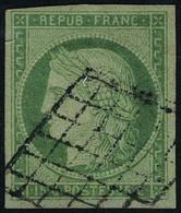 Oblitéré N° 2, 15c Vert Obl Grille, T.B. - Briefmarken