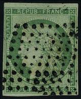 Oblitéré N° 2, 15c Vert Obl Losance De Points Muets T.B. Signé Calves - Briefmarken