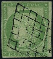 Oblitéré N° 2, 15c Vert Obl Grille, Au Filet Dans Un Angle Sinon T.B. Signé Calves - Briefmarken