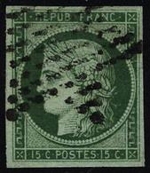 Oblitéré N° 2b, 15c Vert Foncé, T.B. Signé JF Brun - Briefmarken