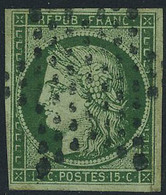 Oblitéré N° 2b, 15c Vert Foncé, Très Belle Nuance, T.B. Signé Calves - Non Classificati