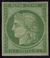 Neuf Avec Charnière N° 2e, 15c Vert Vif Clair, Réimpression T.B. - Non Classificati