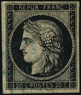 Oblitéré N° 3. 20c Noir Sur Jaune, Càd Bleu, T.B. Cote Maury - Francobolli