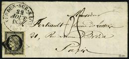Lettre N° 3, 20c Noir Obl Grille + Càd Tupe 13 Verdun Sur Saone 22 Aout 50 Pour Paris, Taxe 05 Manuscrite à L'arrivée, T - Briefmarken