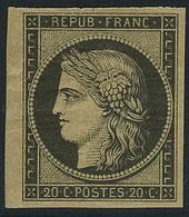 Neuf Avec Charnière N° 3F, 20c Noir Réimpression, Bdf T.B. - Briefmarken