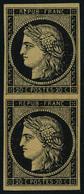 Neuf Sans Gomme N° 3b, 20c Noir Sur Chamois, Paire Verticale, T.B. Signé JF Brun Et Calves, Certificat JF Brun, Cote Mau - Briefmarken