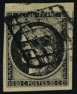 Oblitéré N° 3c, 20c Gris-noir, 4 Marges Maxi Dont 1 Voisin Et Petit Bdf Haut De Feuille, Superbe, Signé + Certificat Sol - Briefmarken