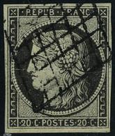 Oblitéré N° 3c, 20c Gris-noir, Légère Trace De Pli, Aspect T.B. Signé Calves - Francobolli