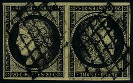 Oblitéré N° 3d, 20c Noir S/jaune, Paire Horizontale Tête-bêche, Superbe Signé Calves, Brun + Certificat - Briefmarken