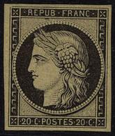 Neuf Avec Charnière N° 3f, 20c Noir Sur Jaune, Réimpression, T.B. - Francobolli