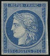 Neuf Sans Gomme N° 4d, 25c Bleu, Réimpression, Pelurage, Sinon T.B. - Francobolli