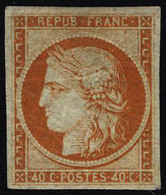 Neuf Avec Charnière N° 5, 40c Orange Réparé, Aspect Superbe - Francobolli