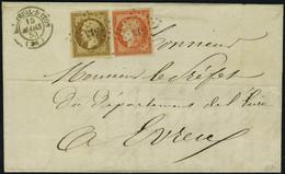 Lettre N° 5 + 9, 40c Orange Vif + 10c Bistre Foncé Sur L Tarif à 50c Double Port, De Breteuil Sur Iton à Evreux 15 Mars  - Briefmarken