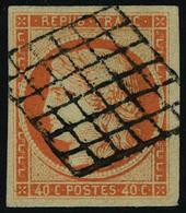 Oblitéré N° 5a, 40c Orange Vif, Belles Marges, T.B. Signé Cotin - Francobolli