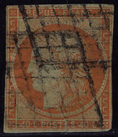 Oblitéré N° 5d, 40c Orange, Variété 4 Retouché, Défectueux Aspect B. - Briefmarken