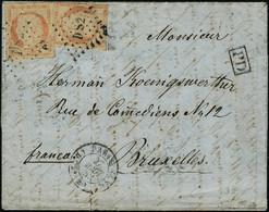 Lettre N°5e. 40c Orange Très Pâle X 2ex S/Lettre Obl. Los DS 2 Romains Et CàD Paris 27 Août 53. Cachet PD Pour Bruxelles - Francobolli