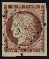 Oblitéré N° 6, 1f Carmin Foncé, Obl Losange PC 20 Très Léger, Superbe - Briefmarken