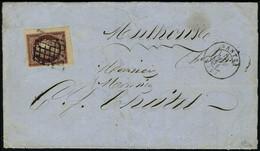 Lettre N° 6B, 1f Carmin Brun, Coin De Feuille Sur L, Superbe, Luxe, Signé Calves - Briefmarken
