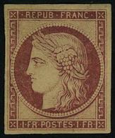 Neuf Avec Charnière N° 6F, 1f Carmin Réimpression Gomme Partielle, T.B. - Francobolli
