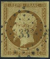 Oblitéré N° 9, 10c Bistre Jaune, Los PC 33, T.B. Signé A Brun - Francobolli