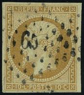 Oblitéré N° 9, 10c Bistre-jaune, T.B. Signé A.Brun - Non Classificati