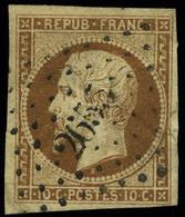 Oblitéré N° 9a, 10c Bistre Brun, Jolies Marges, T.B. - Francobolli