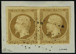 Fragment N° 9a, 10c Bistre Brun Paire Horizontale Obl Sur Fragment T.B. Signé Calves - Non Classificati