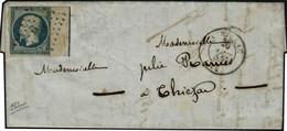 Lettre N°10. 25c Bleu. BdF Avec Filet D'encadrement S/lettre. Timbre Touché En Haut. Bon Aspect. Signé Calves. Cote Maur - Francobolli