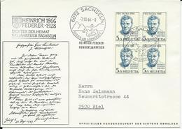 WII 128 B4, Portrait, Peinture église De Zillis, Heinrich Federer, écrivain, Obl. Touristique Sachseln 7.10.66 - Lettres & Documents