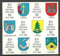 Estland Estonia 1968 In Exil Vignetten Scouting Stamps Coat Of Arms Complete Sheet MNH - Estland