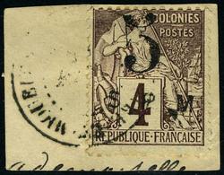 Oblitéré N° 4, 5 Sur 4c De 1881, Oblitéré Sur Petit Fragment, T.B. Signé - Francobolli